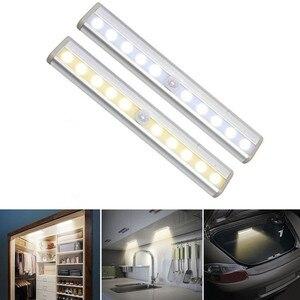 Image 3 - אלחוטי LED תחת קבינט אור PIR חיישן תנועת מנורת 6/10 נוריות עבור מלתחת ארון ארון מטבח תאורת Led לילה אור