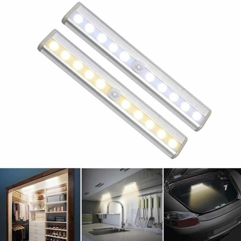 Беспроводная светодиодная подсветка под шкаф PIR датчик движения лампа 6/10 светодиодный s для шкафа шкаф кухонный светильник ing светодиодный ночной Светильник