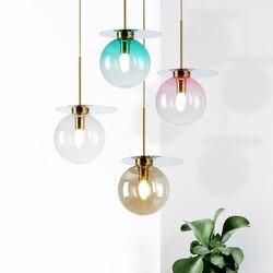 Creative Modern gradient color glass ball pendant lamp Nordic simple 3 lights E14 restaurant DIY decor golden plate LED lighting