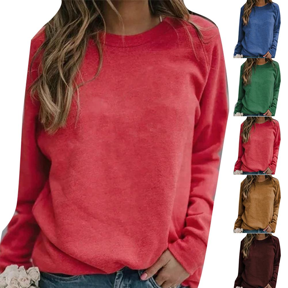 Plus Size Solid Color Crew Neck Long Sleeve Sweatshirt Women Basic Pullover