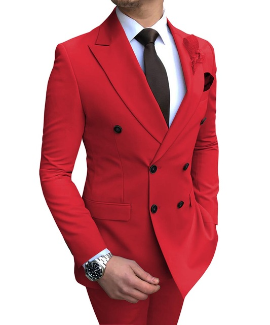 2020 New White Double-breasted Men's Suit Jacket For Wedding Notch Lapel Flat Slim Fit Formal Wear Gala Outfit(Blazer+Pants)