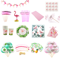 Flamingo Hawaiian Party Baby Shower Wedding Decoration Hen Bachelorette Bridal to be Party Tableware Paper Cups Candy Box Favors