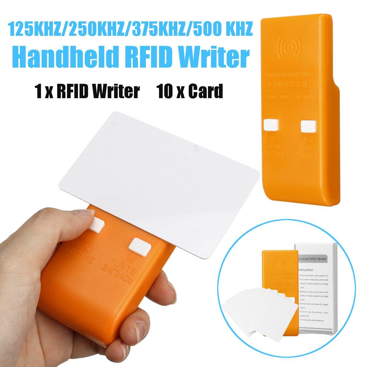 Portable RFID Access ID Card Reader Handheld RFID Writer ID Key Card Copier Reader Duplicator 125KHZ/250 KHZ/375 KHZ/500KHZ