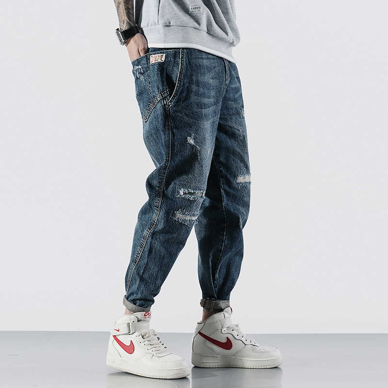 Japanese Fashion Men Jeans Top Quality Loose Fit Retro Blue Ripped Harem Jeans Streetwear Hip Hop Tapered Jeans Men Pencil Pants