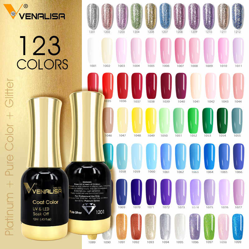 VENALISA Super Warna Gel Cat Kristal Lacquer CANNI Kuku Seni Glitter Pearl Berlian Rendam Off Platinum UV LED Gel Nail bahasa Polandia
