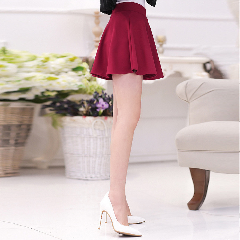 College Style Hipster Solid Color High Waist Skirt A- Line Pleated Skirt Short Students Skirt