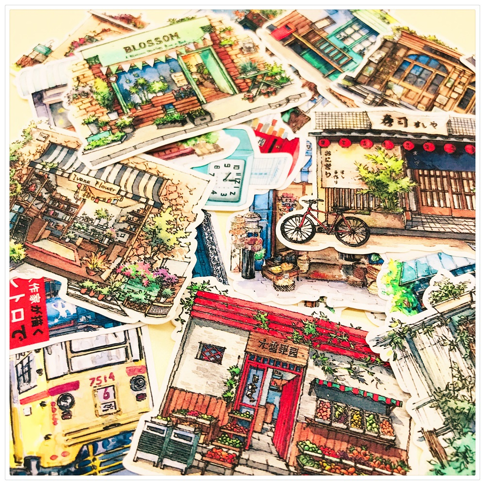 21Pcs/Set Retro Japanese Street Conner Store Sticker DIY Craft Scrapbooking Album Journal Happy Planner Decorative Stickers