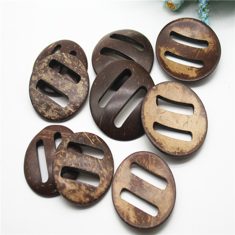 Natural Coconut Shell Ring Pendants 35mm Set of 20 Brown Wood Large Hole