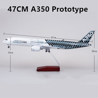 47CM Airplane Airbus A350 Prototype Aircraft Airline Model With Wheel Diecast Plastic Resin Plane For Collection With Box