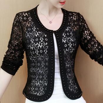 Women Jacket Long Sleeve Black Hollow Lace Jacket Women Fashion Women's Jackets 2021 Women Coats And Jackets Women Clothing B239 1
