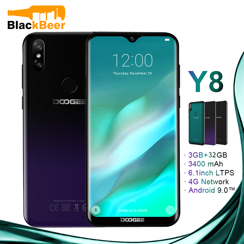 DOOGEE Y8 Y 8 Android 9.0 Cellphone FDD LTE 6.1 Inch Smartphone MTK6739 Quad Core 3GB RAM 32GB ROM 3400mAh Mobile Phone Face ID-in Cellphones from Cellphones & Telecommunications
