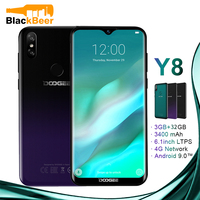DOOGEE Y8 Y 8 Android 9.0 Cellphone FDD LTE 6.1 Inch Smartphone MTK6739 Quad Core 3GB RAM 32GB ROM 3400mAh Mobile Phone Face ID