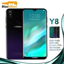DOOGEE Y8 Y 8 Android 9,0 мобильный телефон FDD LTE 6,1 дюймов смартфон MTK6739 четырехъядерный 3 ГБ ОЗУ 32 Гб ПЗУ 3400 мАч мобильный телефон Face ID