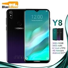 DOOGEE Y8 Y 8 Android 9.0 cep telefonu FDD LTE 6.1 inç akıllı telefon MTK6739 dört çekirdekli 3GB RAM 32GB ROM 3400mAh cep telefonu yüz kimliği