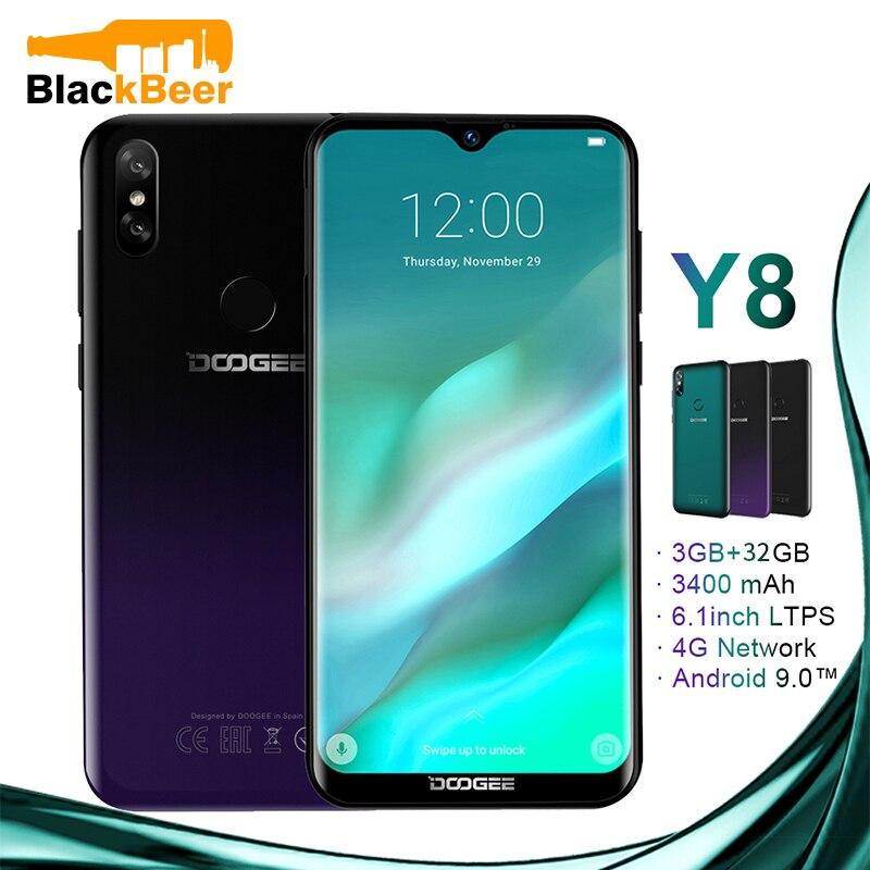 DOOGEE Y8 Y 8 Android 9.0 téléphone portable FDD LTE 6.1 pouces Smartphone MTK6739 Quad Core 3GB RAM 32GB ROM 3400mAh téléphone portable identification de visage