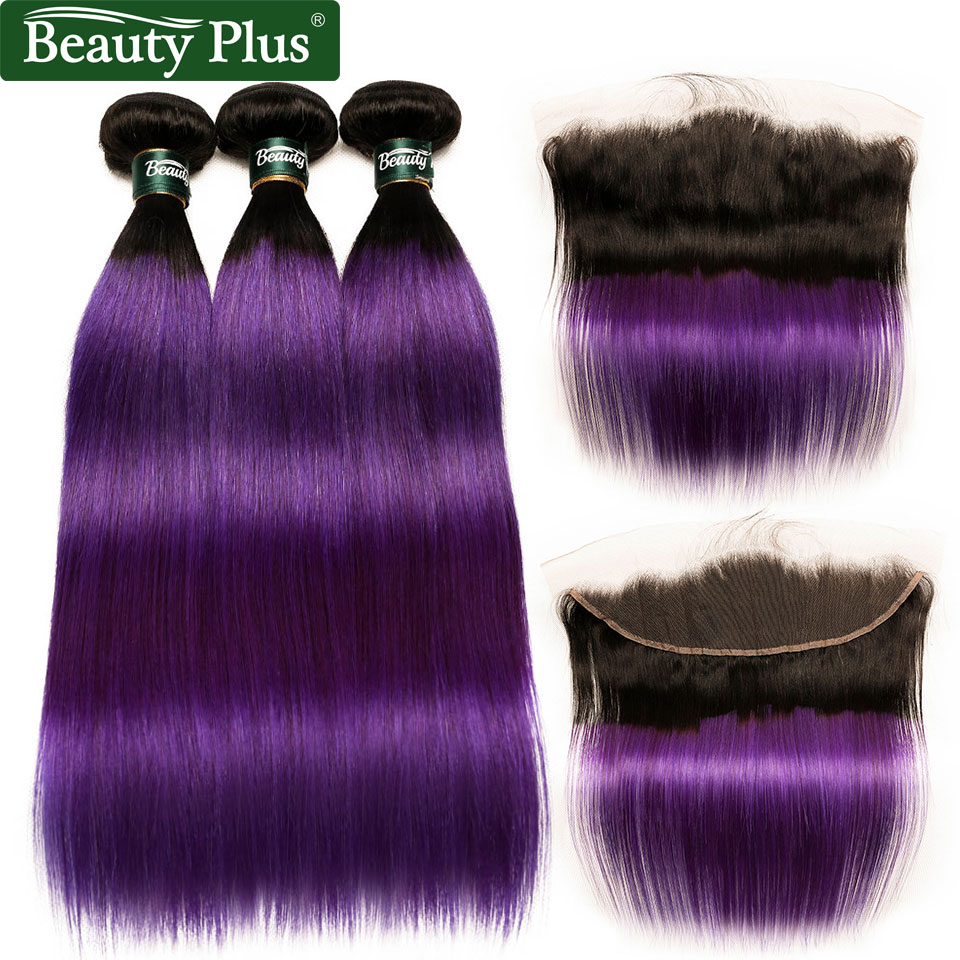 Purple Hair Bundles With Frontal Ombre Straight Bundles With Closure 13*4 Inch Non Remy Brazilian Human Hair Weave Baby Hair BP