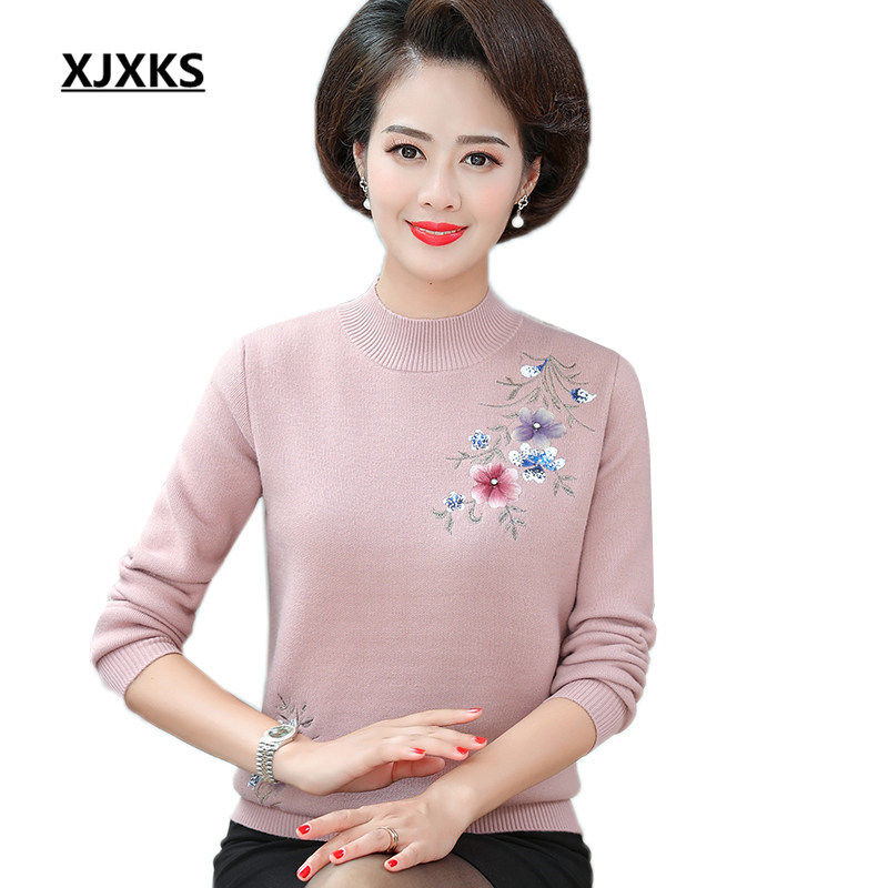 XJXKS Exquisite embroidery women turtleneck sweater 2019 winter thicken new comfortable cashmere sweater pullover women sweater
