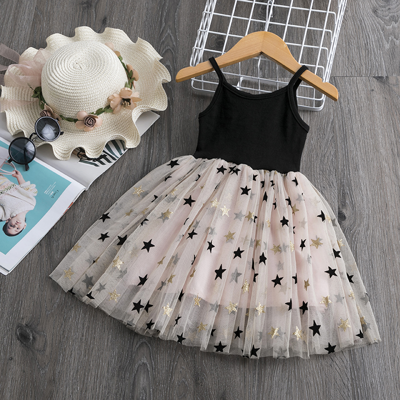 3 4 5 6 7 8 Year Girls Dress Summer Lace Sling Casual Dresses For Baby Girl Pentagram Pattern Clothes Birthday Party Dress