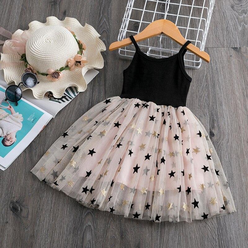 От 3 до 8 лет платье для девочек; Летние кружевные повседневные платья на бретельках для маленьких девочек; Одежда с рисунком пентаграммы; Вечерние платья на день рождения