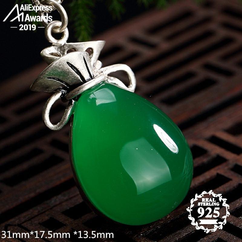 NOT FAKE S925 Fine Antique Shop Store Pendants Emerald Pendant Luxury Taste Women Handmade Vintage Natural Chalcedony Moldavite Peridot