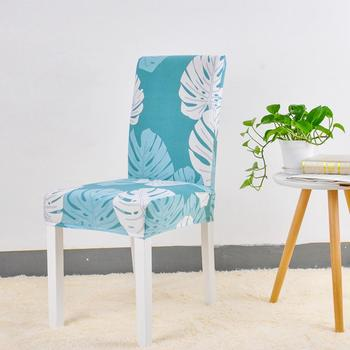 Leaves Print Blue Turquoise Spandex Chair Covers 2 Chair And Sofa Covers