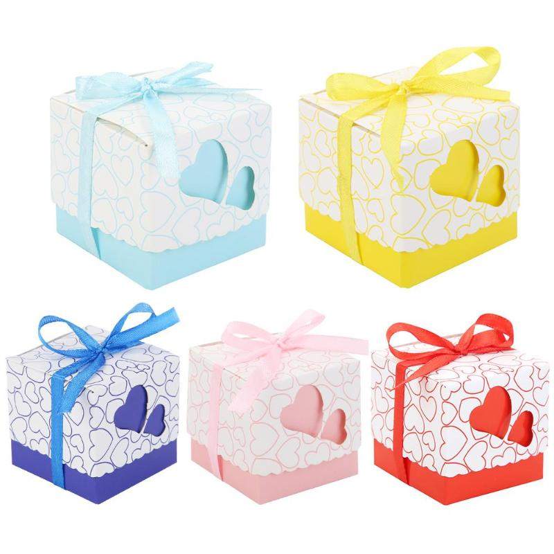 10pcs Double Heart Ribbon Hollow Candy Boxes Wedding Party Valentine Gifts Baby Shower Wedding Party Supplies 2019