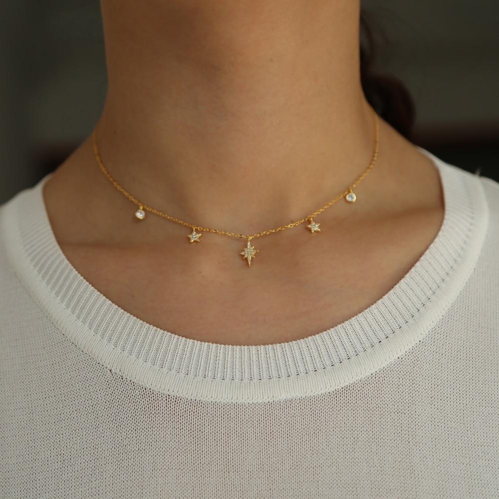 2019 luxury cz drip drop charm chocker cz station star charm necklace 925 sterling slver ladies jewelry short layer necklace