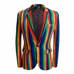 Новое поступление, мужской костюм для ночных клубов, мужской певец, DJ, вечерние, модные, большие цвета, в полоску, Мужской Хлопковый костюм