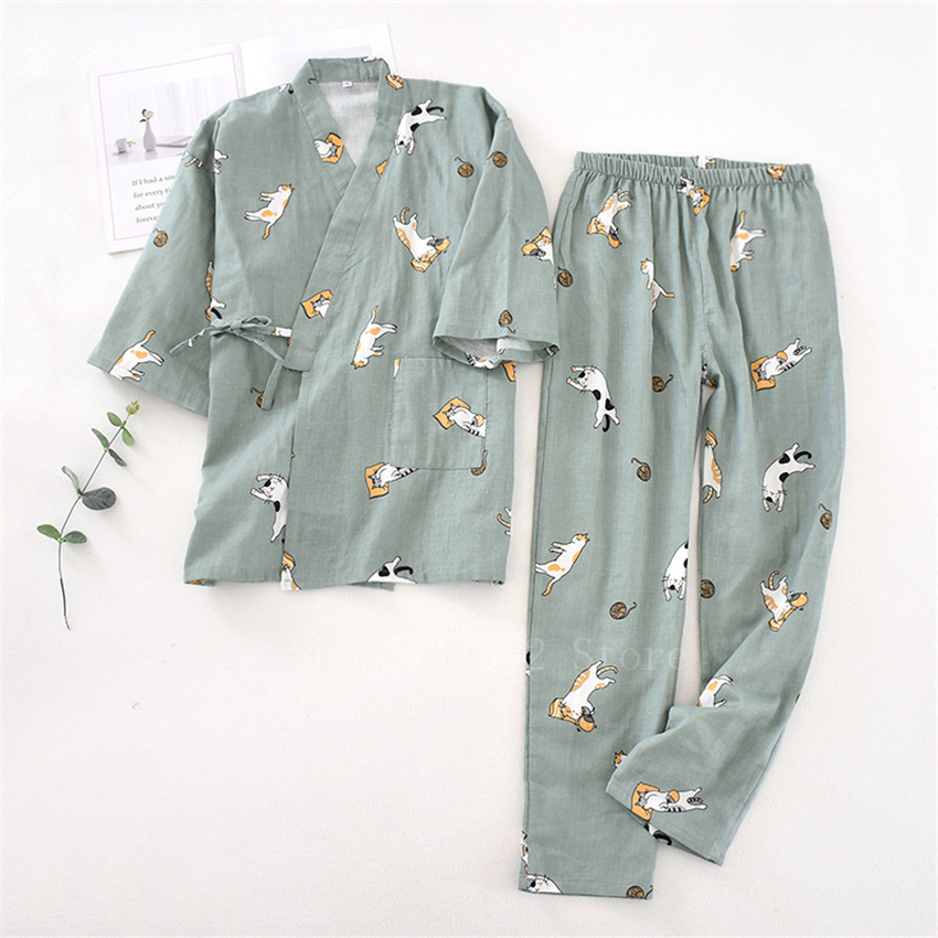 2PCS Japanese Lover Clothing Set Kawaii Printed Kimono Yukata Cotton Steaming Wear Pajamas Man Woman Bathrobe Nightgown