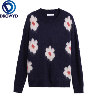 Navy Floral Pullover Sweater Korean 2020 Autumn Soft Cashmere Loose Knitted O-Neck Long-sleeve Winter Streetwear Chic Sweater werynica korean fashion ladies women knitting sweater houndstooth o neck batwing sleeve pullover loose cashmere sweater hot sale