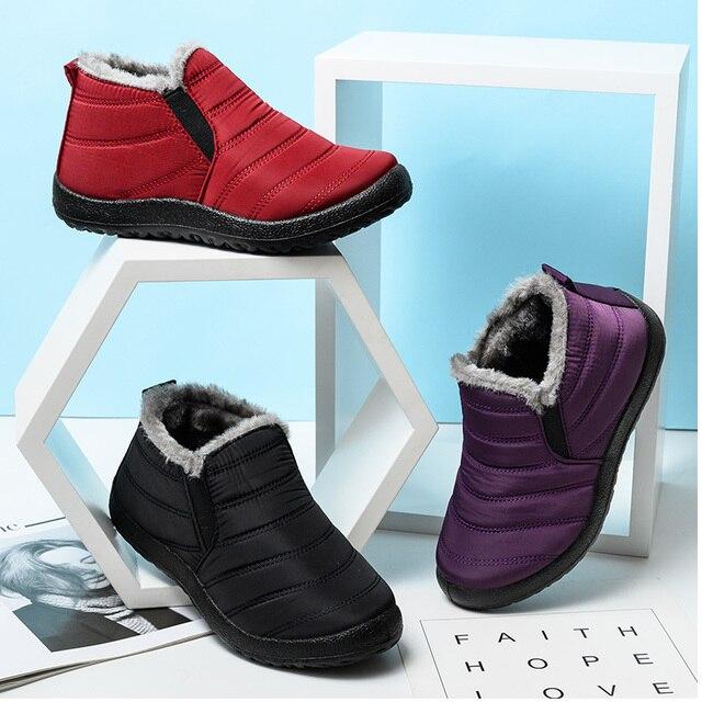 Mulheres botas de inverno ultraleve sapatos femininos tornozelo botas mujer waterpoor botas de neve feminino deslizamento em sapatos casuais planos sapatos de pelúcia 4