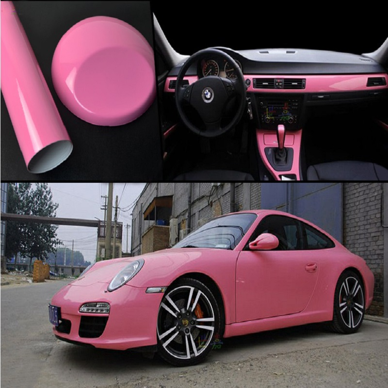 Glossy Pink Vinyl Auto Car Styling Car And Motorcycle Sticker Vinyl Wrap Film Air Release Sticker Decal Sheet Accessories