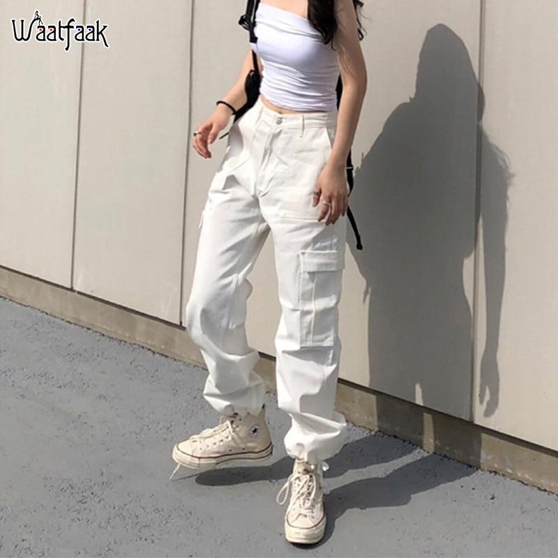 Waatfaak Dance Cargo Pants Women High Waist Black Korean Pants Ladies Pockets Streetwear White Trousers Hip Hop Cargo Pants
