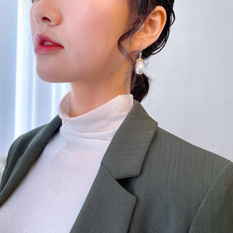 2020 Trendy Zircon Crystal Waterdrop Women Dangle Earrings Teardrop Shaped Pearl Drop Earrings Elegant Wedding Brides Jewelry