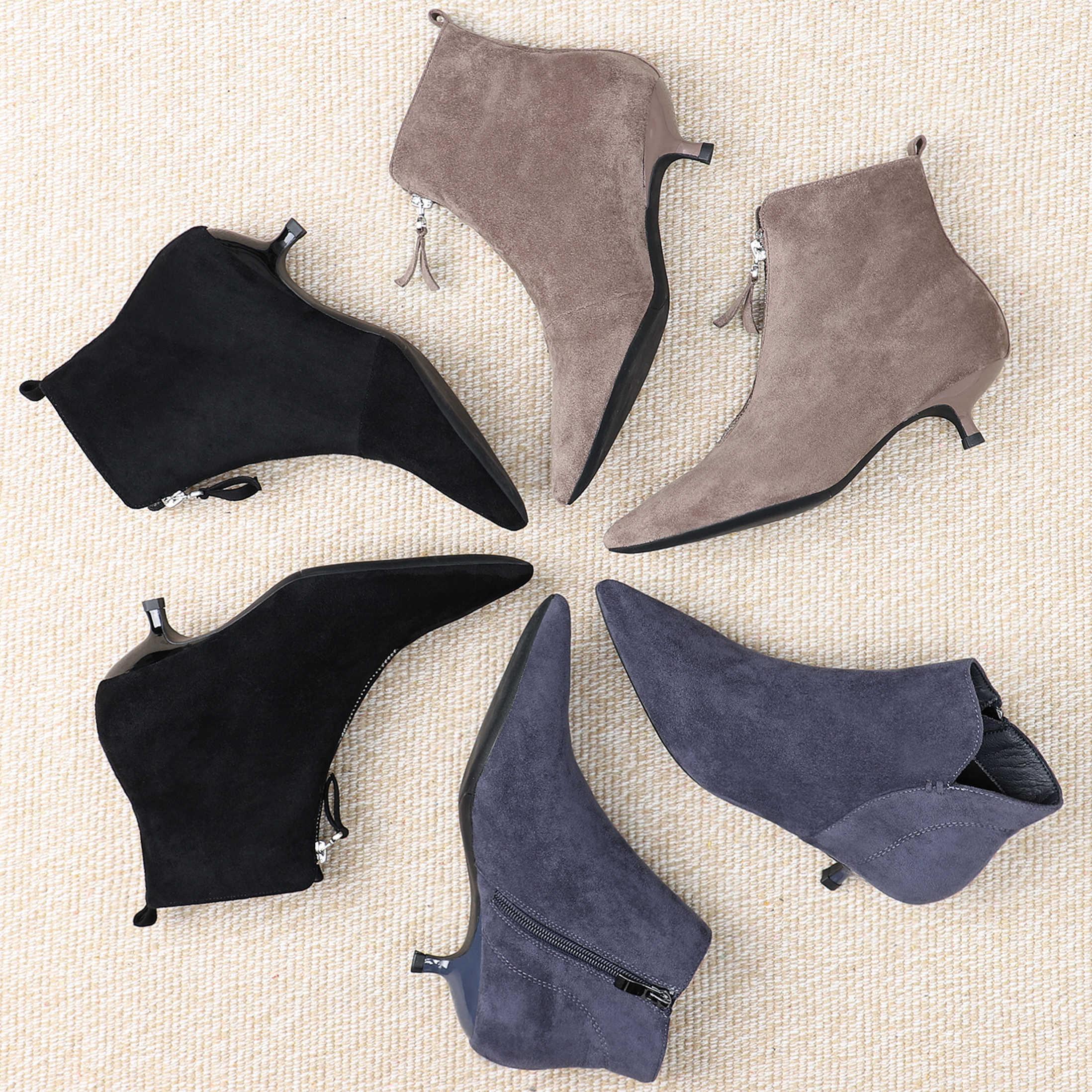 Botas de invierno negras de 2019 para mujer, zapatos de tacón alto con cremallera y puntiagudos, botas para mujer, tobillo, vaquero, Occidental de goma zapatos