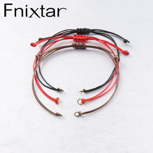 Fnixtar Red Black Brown Color Adjustable Rope Chain Bracelets For Women DIY Handmade Making 20pcs/lot(China)