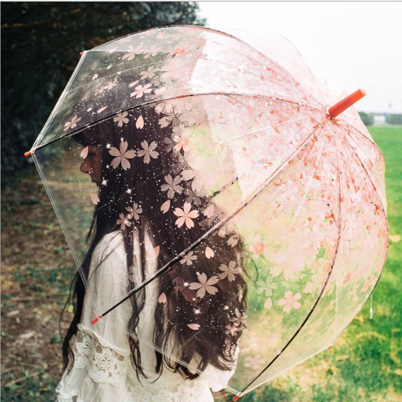 Romantic Transparent Clear Flowers Bubble Dome Umbrella Half Automatic For Wind Heavy Rain 95AA