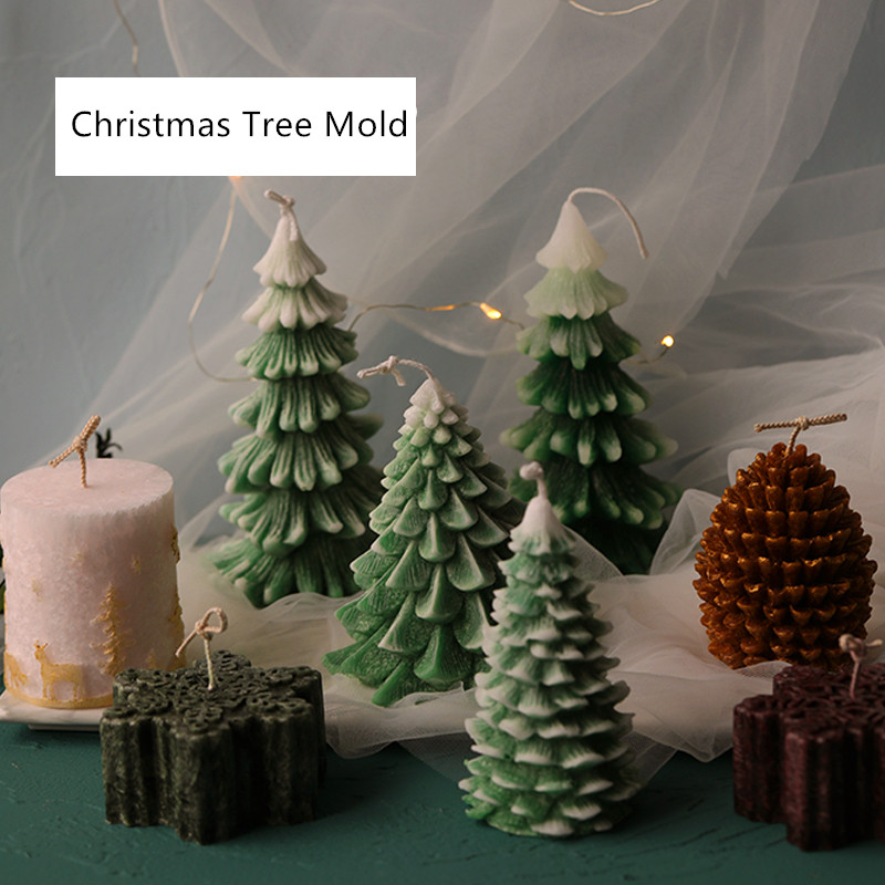 Christmas Candle Mold Christmas Tree Pine Cone Snow Snowflake Candle Mold Soap Silicone Mold