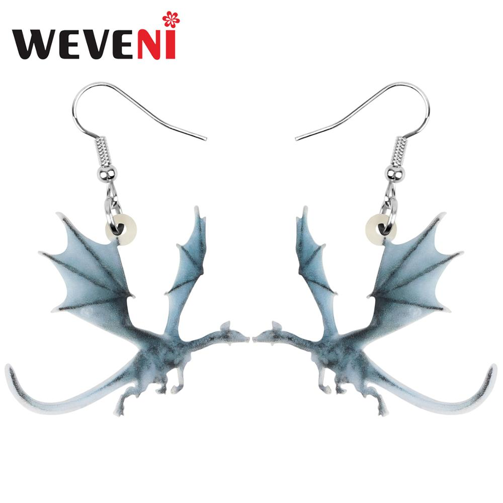 WEVENI Acrylic Anime Dinosaur Dragon Earrings Animal Drop Dangle Jewelry For Women Girls Teen Charm Hot Sale Gift Bulk Accessory(China)