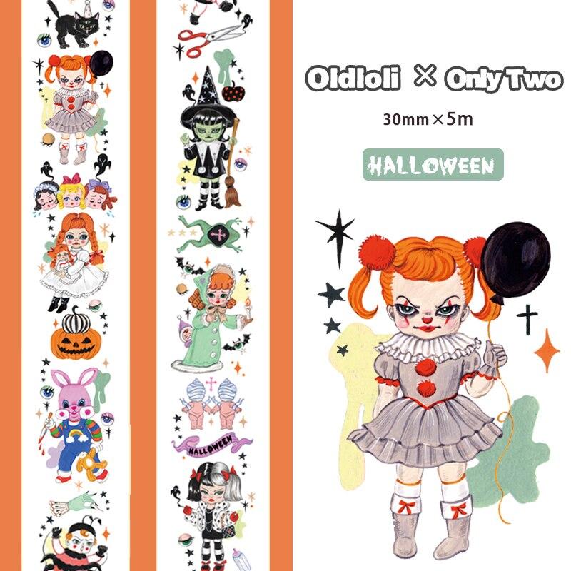 30*5mm Halloween Ghost Cartoon Funny Pumpkin/Witch/Mummy/Clown/Candle Girl Sticker Washi Tape DIY Scrapbookin Masking Tape