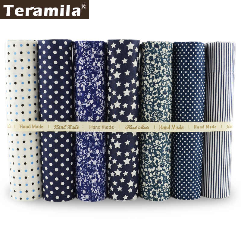 100% Cotton Fabric White and Dark Blue Color Flowers/dots/stripes/star Design Quilting Patchwork Other Crafts Home Textile Cloth