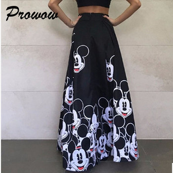 Plus Size Mickey Long Skirt Women Elegant Elastic High Waist Cartoon Casual Women Pleated skirt Ladies skirt Women Streetwear 1