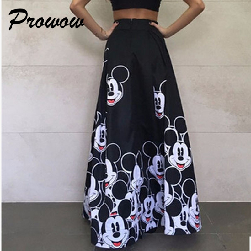 Plus Size Mickey Long Skirt Women Elegant Elastic High Waist Cartoon Casual Women Pleated Skirt Ladies Skirt Women Streetwear