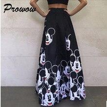 Plus Size Mickey Long Skirt Women Elegant Elastic High Waist Cartoon Casual Wome