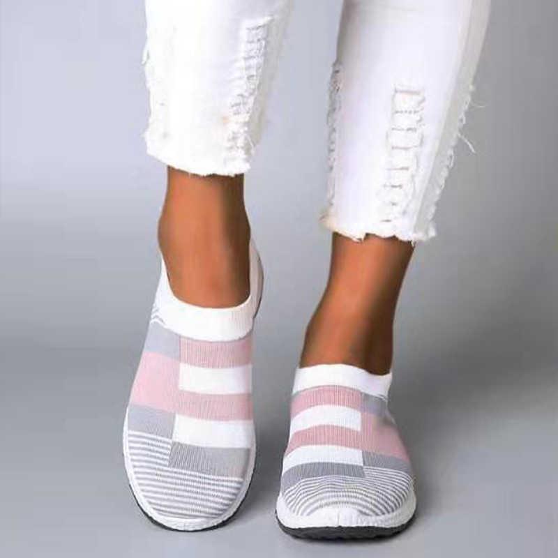 Kadınlar vulkanize ayakkabı kadın moda ayakkabı kadın ayakkabı örme kadınlar Flats Sneakers ayakkabı Tenis Feminino artı boyutu ayakkabı 41