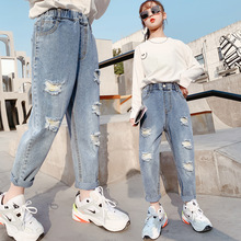 2021 Spring Kids Jeans Girl Solid Jeans For Girls Fashion Bow Girls Jeans Pants Autumn Casual Girls Clothes 6 8 10 12 Year