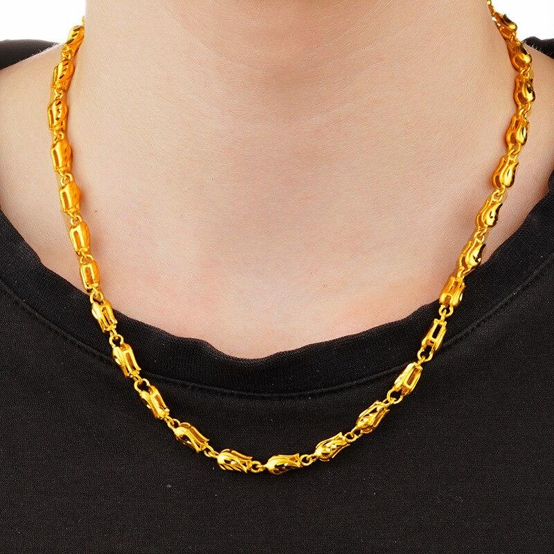 24K or creux rose fleur conception chaîne collier de mode de mariage bijoux pour hommes et femmes cadeaux de noël livraison directe
