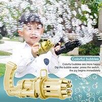 Pistola de burbujas 2 en 1 automática Gatling, máquina de burbujas de agua y jabón mágico, ventilador de refrigeración para interiores, juguetes para verano, exterior