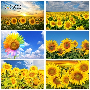 Laeacco Blue Sky White Clouds Sunflowers Photography Backdrops Baby Birthday Photo Backgrounds Newborn Portrait Photophone Props laeacco baby shower photophone starry sky moon clouds photography backgrounds birthday backdrops newborn photocall photo studio