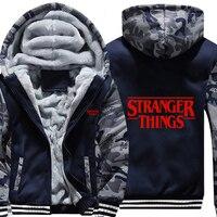 fleece hoodie men zipper hooded sweatshirt winter cotton thick coat camouflage stranger things logo print customized dropship